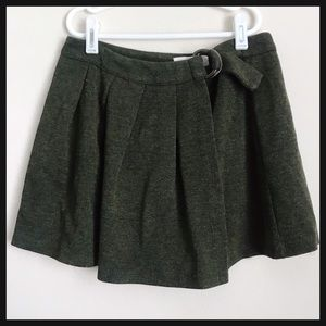 ZARA GIRLS | green pleated wrap mini skirt